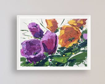 Tulips Painting Oil Painting Canvas Wall Art Flowers Artwork Original Textured Modern Painting Floral Home Decor Gifts for Women Gifts Ideas