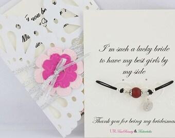 Thanks for helping me tie the knot bracelet and card, Bridesmaid bracelet, Maid of Honor bracelet, Gemstone Red Agate bracelet, Flower Girl
