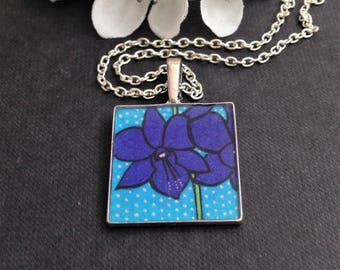 Handmade Purple Orchids Pendant Necklace - Orchid Pendant for Flower Lovers - Orchid Flower Resin Pendant - Jewellery Gifts - Valentines Day