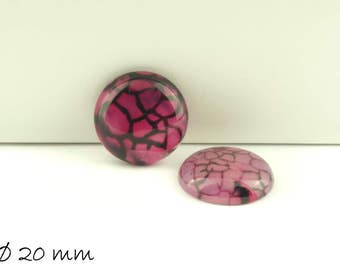 2 PCs pink cabochons, Dragon veins agate, 20 mm,