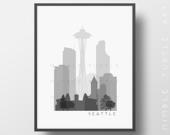 Seattle Skyline Printable Download  -  Black and White  -  Grayscale - Seattle Washington Gallery Wall Art