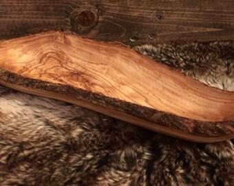 Handmade olive wood bowl, bread basket