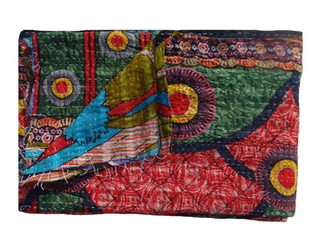 Twin Size Kantha Quilt ,Indian Handmade Quilt,Throw Quilt Wall Hanging,Beach Tapestry,Ethnic Floral Design,Vintage Kantha Quilt  #111