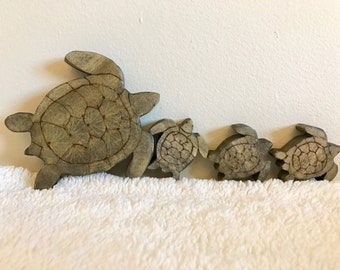 READY TO SHIP Mommy sea turtle and three babies ready to ship