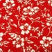 Floral Fabric Hawaiian Hibiscus Plumeria Red Fabric made in Korea by the Half Yard 18 x 57(wide)