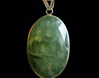 Moss Agate Prehnite Silver Pendant