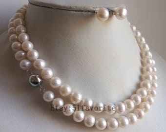 pearl necklace earrings set - genuine cultued 9-10mm white pearl necklace & stud earrings set