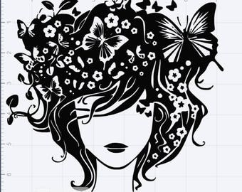 Madam Butterfly SVG EPS DXF Studio3 Cut Files