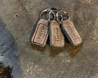 Saddle Stitched Leather Keychain