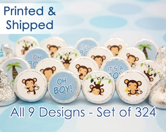 Boy Monkey Baby Shower Stickers for Hershey Kisses (Set of 324)