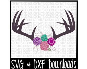 Floral Antlers SVG * Antique Flowers * Deer Antler SVG Cut File - dxf & SVG Files - Silhouette Cameo, Cricut