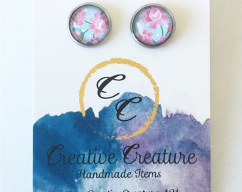 Floral print glass stud earrings