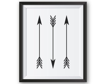 Arrow Print, Black and White Prints, Arrow Decor, Printable Wall Art,  Black and White Wall Art, Art Print, Three Arrows Artwork, Wall Decor
