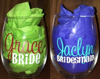 Set of 5 Personalized Bridal Party Wine Glasses