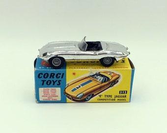 Vintage Corgi Toys Diecast Car #312 Jaguar 1960s E Type Silver With Box