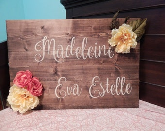 Child Name Sign with Flowers