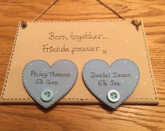 Born together... Friends Forever hand made personalised baby twin plaque