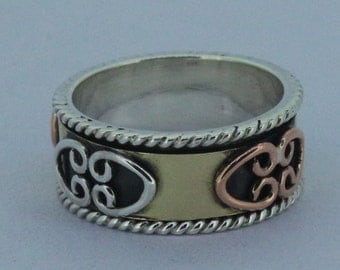 925 Sterling Silver Copper And  Brass 'Spinner Ring'