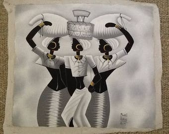 "Haitian Art ""Three Women Walking"""
