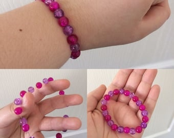 Pink and Purple Glass Beaded Bracelet