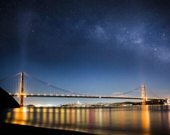 Golden Gate San Francisco Milky Way photo print / metal art