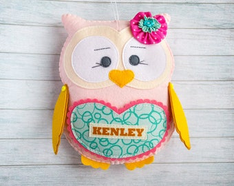 Kids gift Owl toys Soft plushie Felt owl Tooth fairy pillow Teal pink nursery Granddaughter gift Birthday gift Baby shower decoration custom