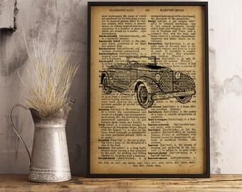 Classic Old Car, Vintage Vehicle, Antique Automobile, Dictionary Art Print, Car Decor, Retro Car Poster collage, BUY 2 GET 1 FREE (C07)