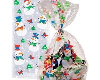 pack of 20 snowman glee christmas cellophane bags perfect for homemade christmas gifts