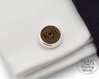 LOVE initials Custom cufflinks | Sterling Silver | Wood Cufflinks, Engraved cufflinks, Initials Cufflinks, Mens cufflinks, Handmade