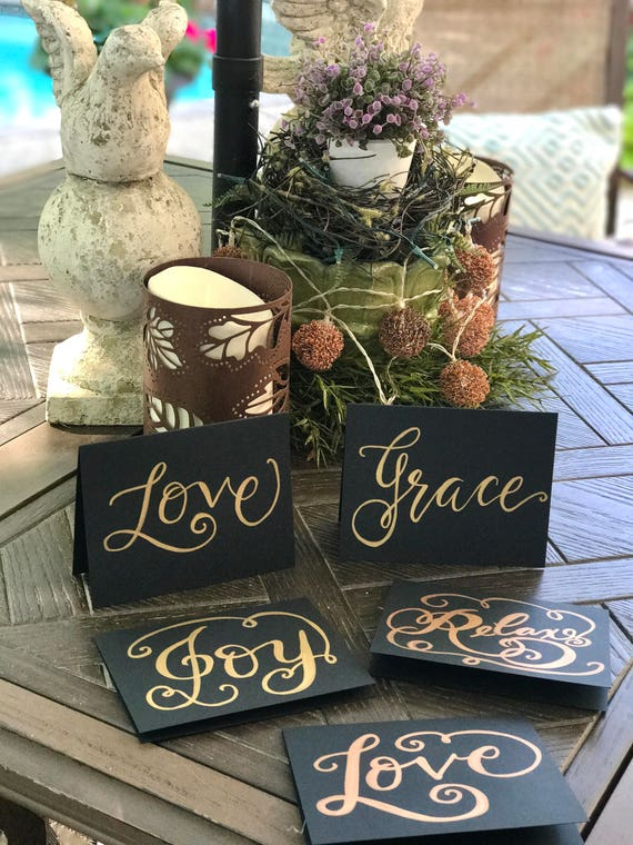 Original Calligraphy Handwritten Note Cards / Thinking of You / Any Occasion Card  / Matching Envelope /love/joy/relax/grace