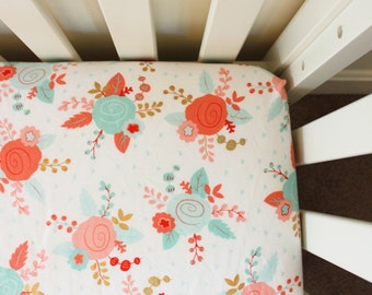 Floral Fitted Crib Sheet, baby girl crib sheet, mint, coral, gold, pink, fitted crib sheet, crib sheet, baby girl bedding, nursery bedding,