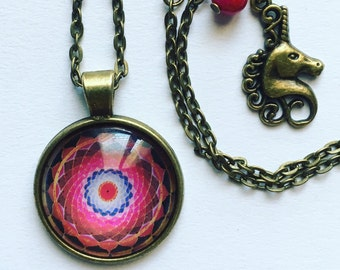 Mandala red Cabochon necklace