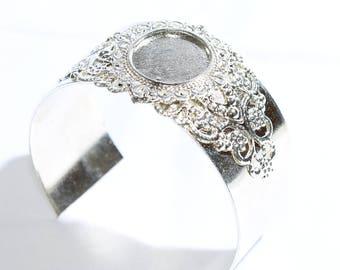 Silver Plated Cuff Bracelet Bezel,Bracelet Bangle, Cabochon Bracelet, SKU/LN2