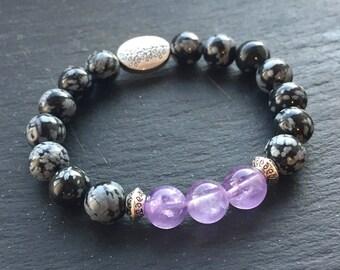 Amethyst Bracelet with Snowflake Obsidian Gemstone Beads Custom Fit Made in UK