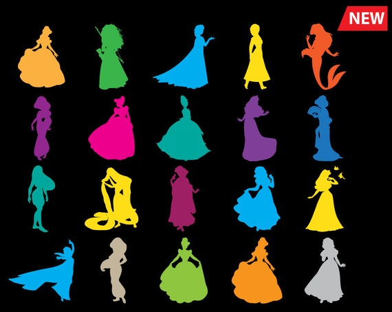 Disney Princess Svg Silhouette Monogram Svg Png Dxf Clip Art