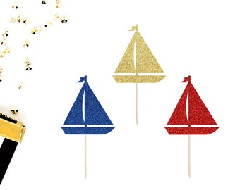 Sailboat Cupcake Toppers (Set of 12) | Nautical Cupcake Toppers | Retirement Party | Nautical Party Decor | Glittery Sailboat Toppers