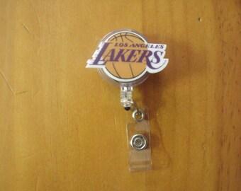 LA Los Angeles Lakers Basketball Retractable Reel ID Badge Lanyard Clip Nursing Scrubs