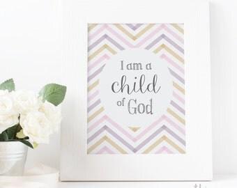 I am a Child of God, baptism, Primary Sign, LDS Home Decor, Instant Download, Digital Printable, Home Decor Print, LDS Girl Gift Purple