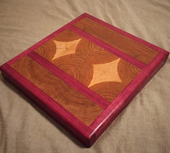 "Cherry Wood End Grain and Purpleheart Chopping / Cutting Board. 11"" x 10"" x 1.5"""