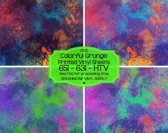 Colorful Grunge Print Vinyl/Printed Heat Transfer Vinyl/Pattern Vinyl/Printed 651 Vinyl/Printed 631 Vinyl/Printed Outdoor Vinyl/Printed HTV