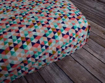 Baby Girl Bedding, Fitted Sheet, Baby Girl Nursery, Toddler Bedding, Modern Baby Sheets, Triangles, Geometric, Coral, Mint, Gold, Aqua, Navy