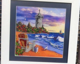 Picture embroidered with beads. 100% handmade! Free shipping!!!