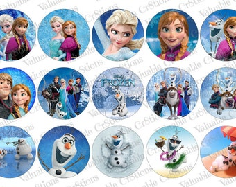 "Frozen Bottlecap Images, 1"" Circle Images, 4x6 Collage Sheet, Elsa Images, Digital Collage Sheet, Cupcake Toppers, Olaf"
