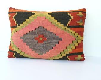 Vintage kilim pillow large 40x60 cm / 16x23 inch