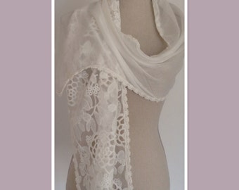 White Cotton Lace Scarf Wrap Fashion Accessory