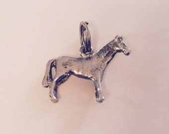 Pony horse  sterling silver charm vintage # 386