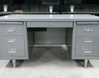 Vintage Industrial Tanker Desk by AllSteel, Original grey finish, Great Patina, Great condition, **Local P/U Only**, Tanker Desk, Large top