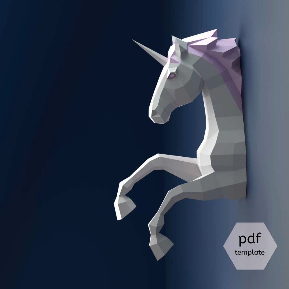 Unicorn papercraft 3d papercraft build your own low poly for Art decoration pdf