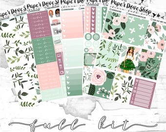 Olivia Full Kit-- ECLP Vertical, Decorative Stickers, Planner Stickers, Spring/Floral/Leafy Kit