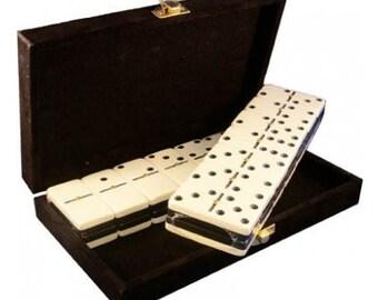 Double Six Two Tones Colors Dominoes in Velvet Box (Black & White)